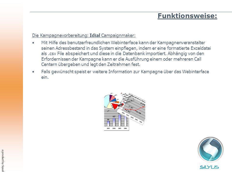 a product by Siyusl Funktionsweise: Die Kampagnevorbereitung: Idial Campaignmaker: Mit Hilfe des benutzerfreundlichen Webinterface kann der Kampagnenv