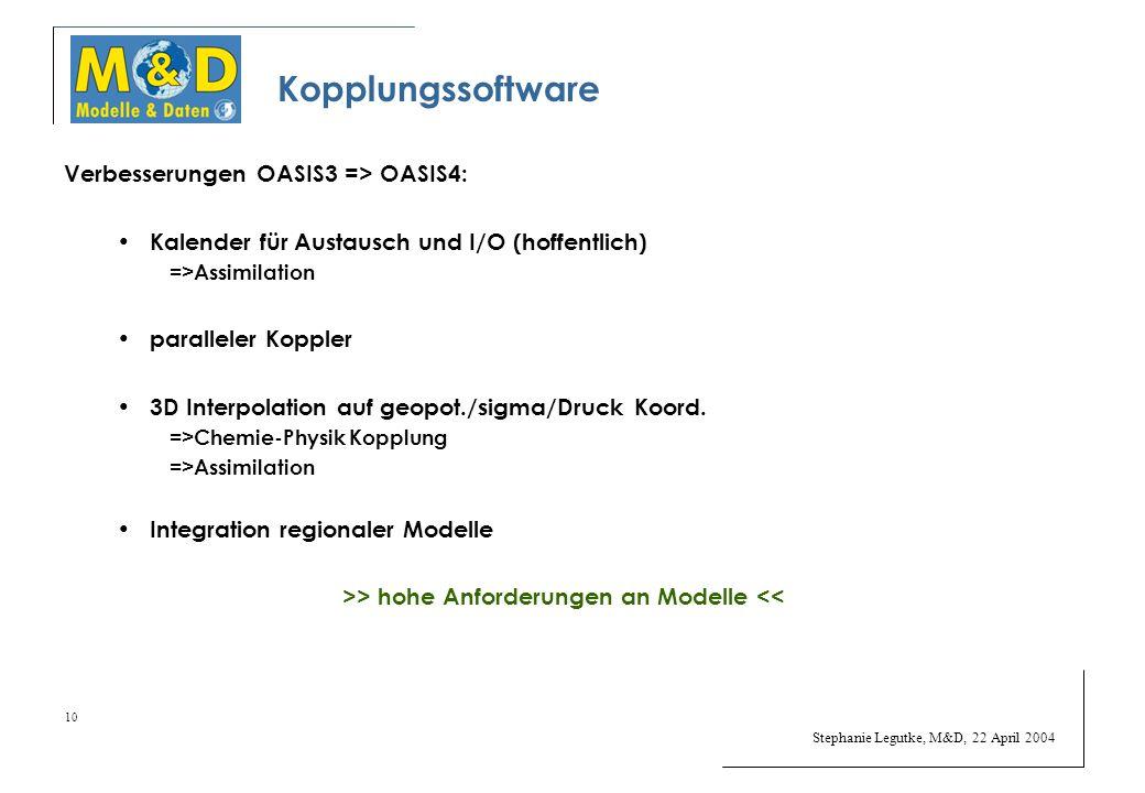 Stephanie Legutke, M&D, 22 April 2004 10 Kopplungssoftware Verbesserungen OASIS3 => OASIS4: Kalender für Austausch und I/O (hoffentlich) =>Assimilation paralleler Koppler 3D Interpolation auf geopot./sigma/Druck Koord.