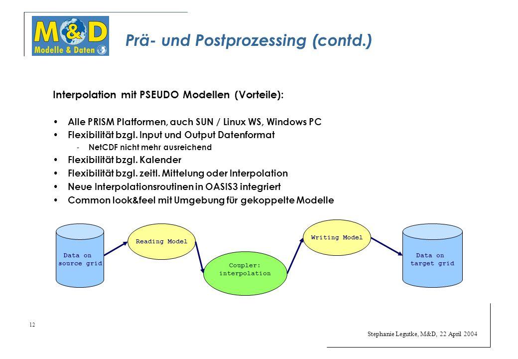 Stephanie Legutke, M&D, 22 April 2004 12 Prä- und Postprozessing (contd.) Interpolation mit PSEUDO Modellen (Vorteile): Alle PRISM Platformen, auch SUN / Linux WS, Windows PC Flexibilität bzgl.