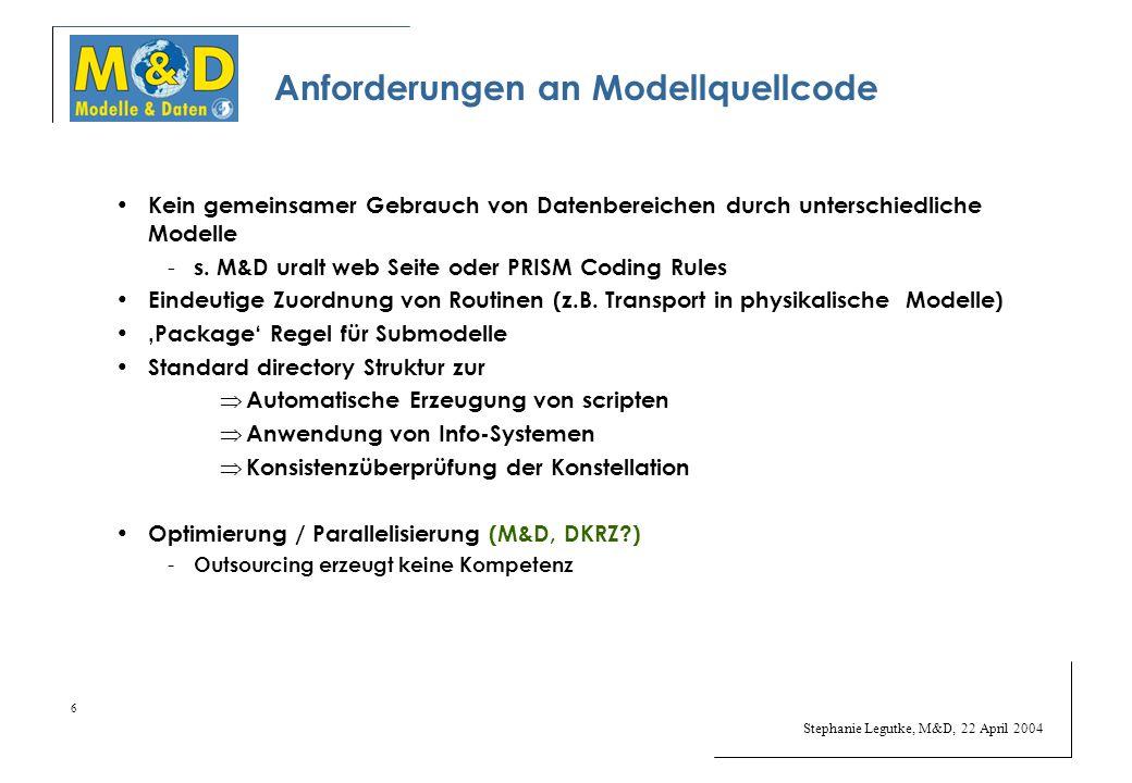 Stephanie Legutke, M&D, 22 April 2004 6 Anforderungen an Modellquellcode Kein gemeinsamer Gebrauch von Datenbereichen durch unterschiedliche Modelle - s.
