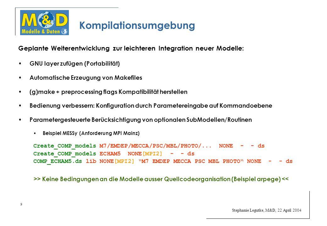 Stephanie Legutke, M&D, 22 April 2004 9 Kompilationsumgebung Geplante Weiterentwicklung zur leichteren Integration neuer Modelle: GNU layer zufügen (Portabilität) Automatische Erzeugung von Makefiles (g)make + preprocessing flags Kompatibilität herstellen Bedienung verbessern: Konfiguration durch Parametereingabe auf Kommandoebene Parametergesteuerte Berücksichtigung von optionalen SubModellen/Routinen Beispiel MESSy (Anforderung MPI Mainz) Create_COMP_models M7/EMDEP/MECCA/PSC/MBL/PHOTO/...