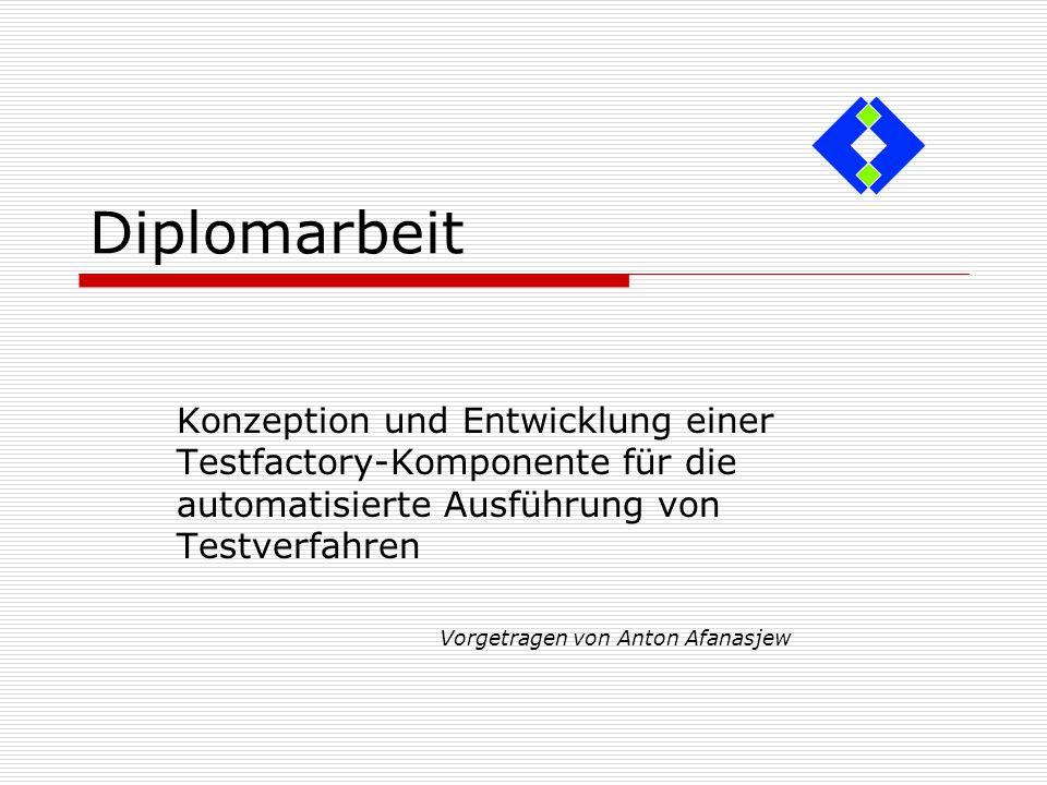Diplomarbeit Konzeption und Entwicklung einer Testfactory-Komponente für die automatisierte Ausführung von Testverfahren Vorgetragen von Anton Afanasj