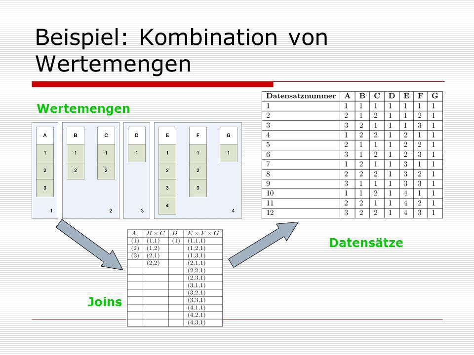 Beispiel: Kombination von Wertemengen Wertemengen Joins Datensätze