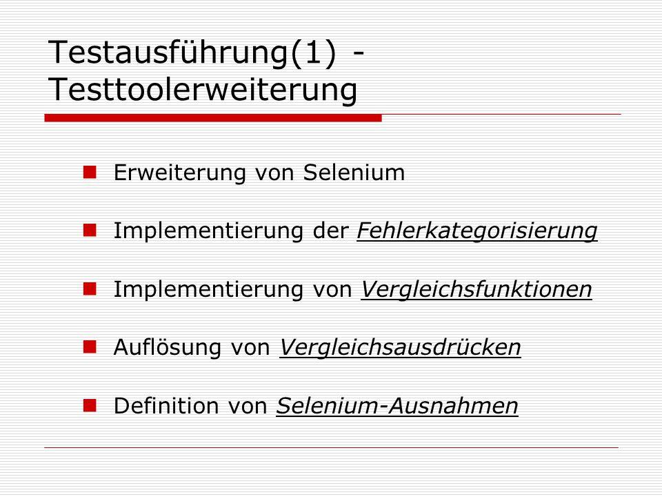 Testausführung(1) - Testtoolerweiterung Erweiterung von Selenium Implementierung der Fehlerkategorisierung Implementierung von Vergleichsfunktionen Auflösung von Vergleichsausdrücken Definition von Selenium-Ausnahmen