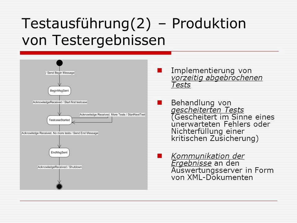 Testausführung(2) – Produktion von Testergebnissen Implementierung von vorzeitig abgebrochenen Tests Behandlung von gescheiterten Tests (Gescheitert im Sinne eines unerwarteten Fehlers oder Nichterfüllung einer kritischen Zusicherung) Kommunikation der Ergebnisse an den Auswertungsserver in Form von XML-Dokumenten