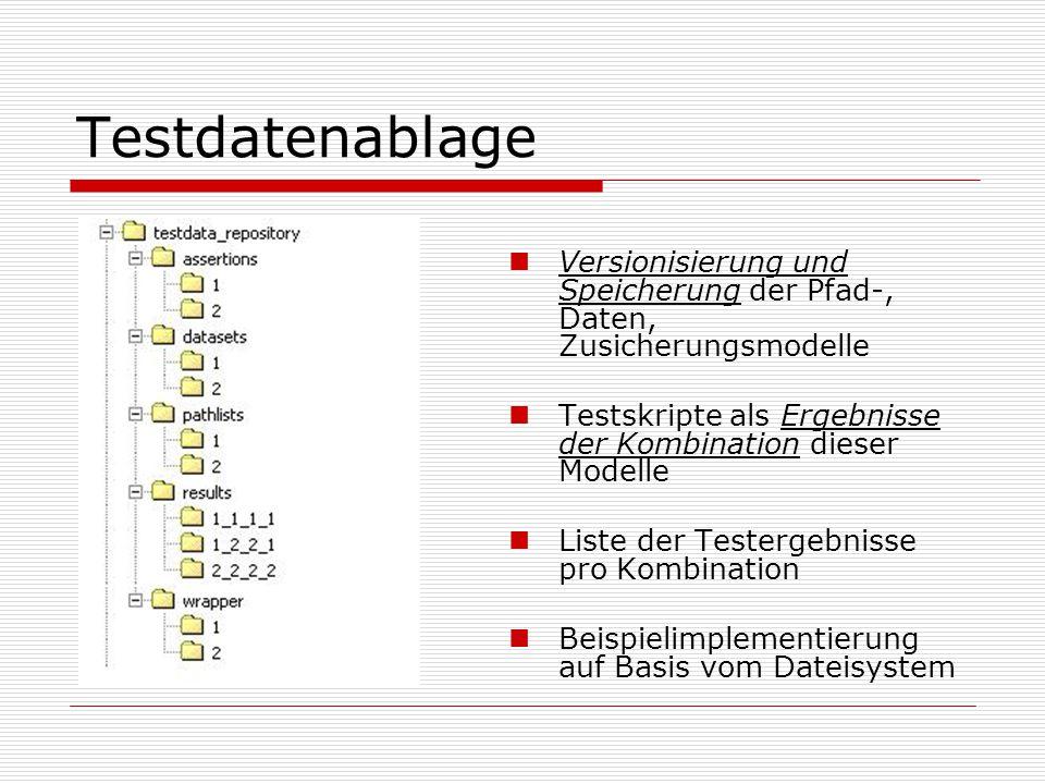 Testdatenablage Versionisierung und Speicherung der Pfad-, Daten, Zusicherungsmodelle Testskripte als Ergebnisse der Kombination dieser Modelle Liste der Testergebnisse pro Kombination Beispielimplementierung auf Basis vom Dateisystem