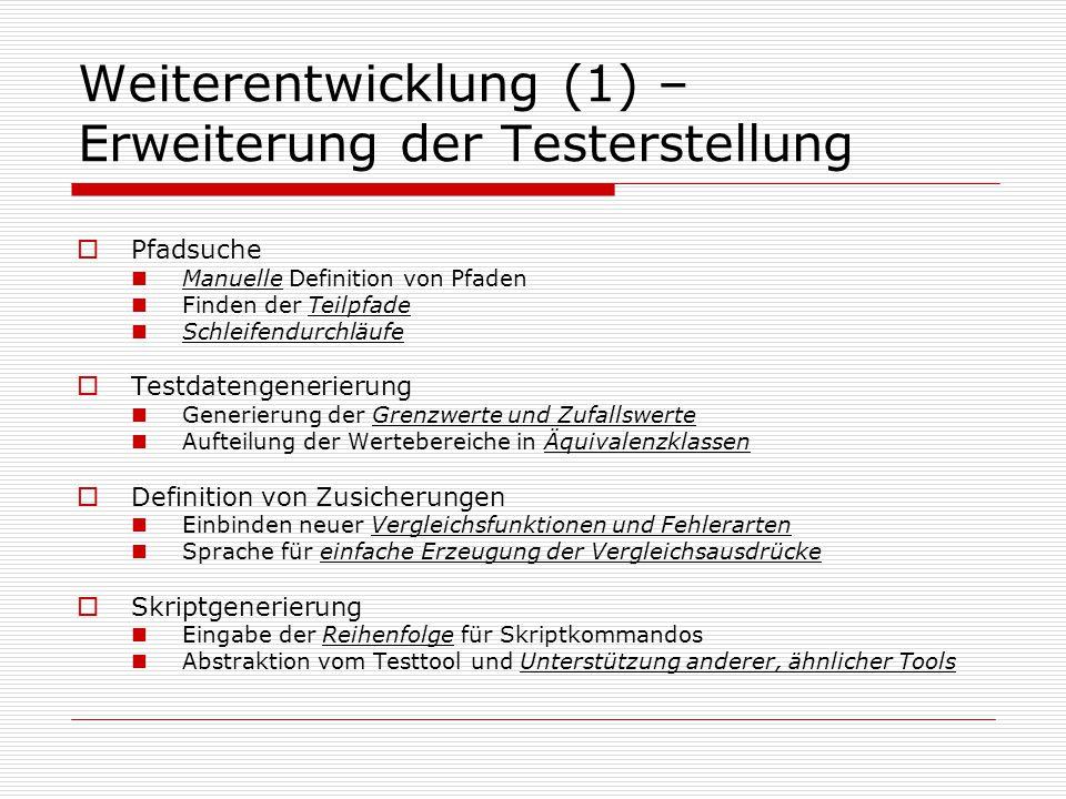 Weiterentwicklung (1) – Erweiterung der Testerstellung Pfadsuche Manuelle Definition von Pfaden Finden der Teilpfade Schleifendurchläufe Testdatengene