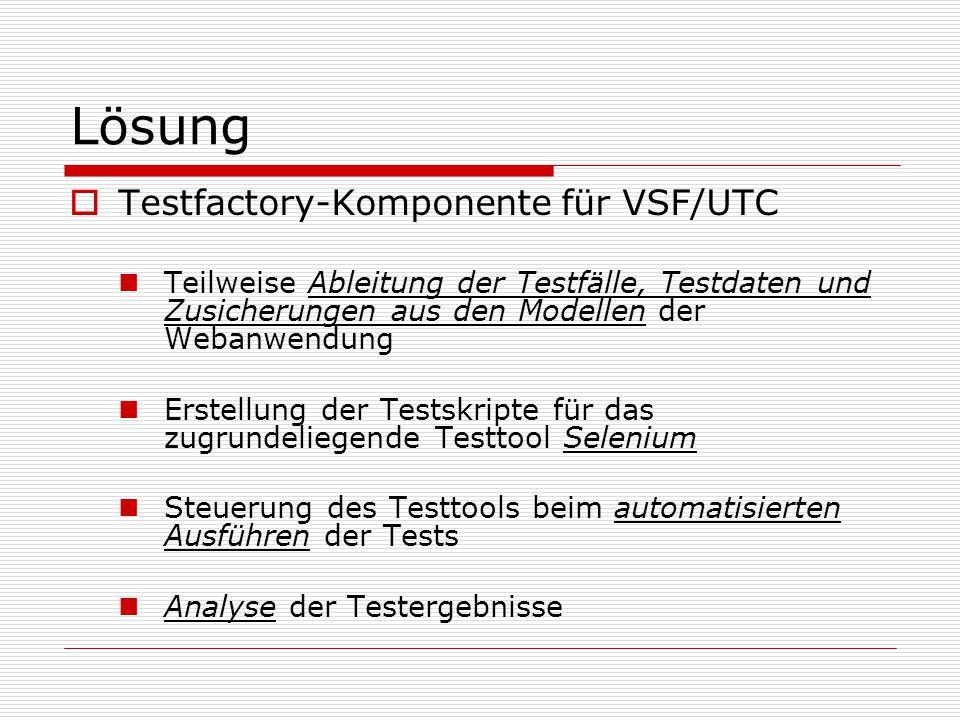 Lösung Testfactory-Komponente für VSF/UTC Teilweise Ableitung der Testfälle, Testdaten und Zusicherungen aus den Modellen der Webanwendung Erstellung der Testskripte für das zugrundeliegende Testtool Selenium Steuerung des Testtools beim automatisierten Ausführen der Tests Analyse der Testergebnisse