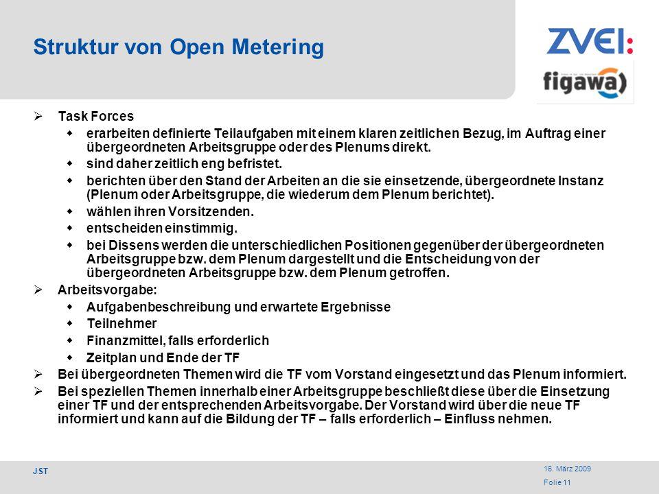 16. März 2009 Folie 11 JST Struktur von Open Metering Task Forces erarbeiten definierte Teilaufgaben mit einem klaren zeitlichen Bezug, im Auftrag ein