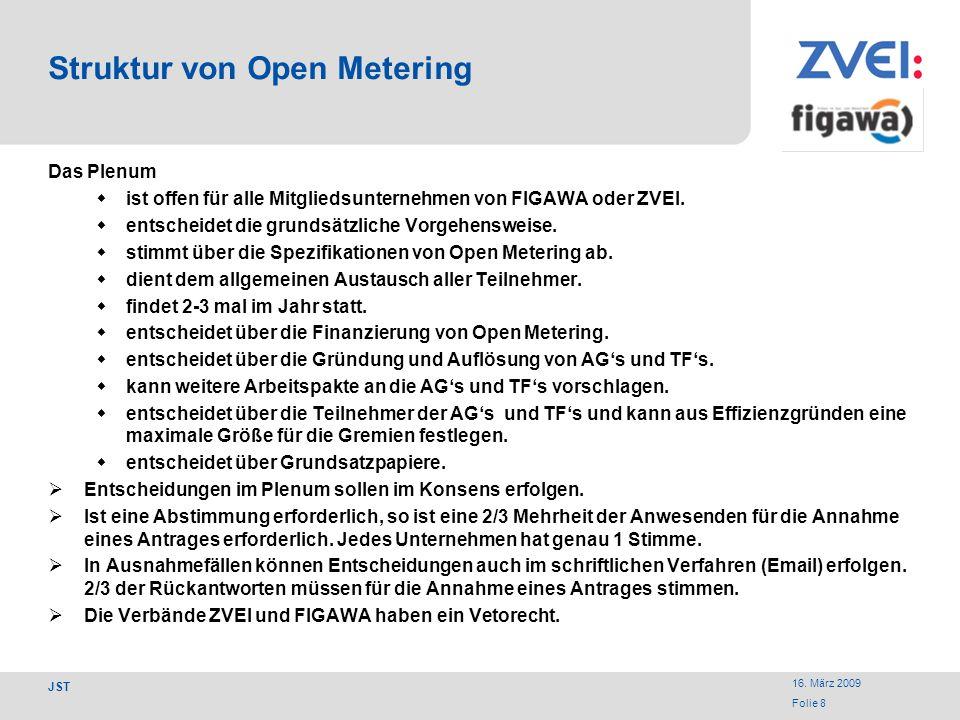 16. März 2009 Folie 8 JST Struktur von Open Metering Das Plenum ist offen für alle Mitgliedsunternehmen von FIGAWA oder ZVEI. entscheidet die grundsät
