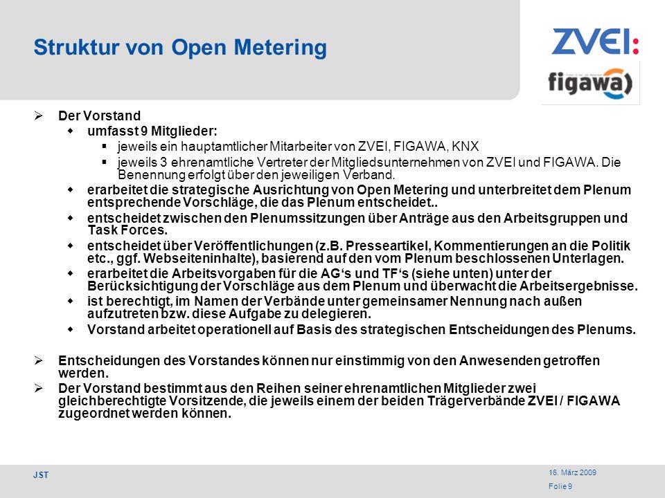 16. März 2009 Folie 9 JST Struktur von Open Metering Der Vorstand umfasst 9 Mitglieder: jeweils ein hauptamtlicher Mitarbeiter von ZVEI, FIGAWA, KNX j