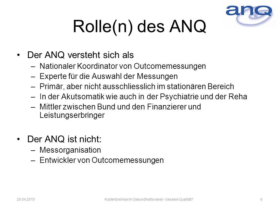 Rolle(n) des ANQ Der ANQ versteht sich als –Nationaler Koordinator von Outcomemessungen –Experte für die Auswahl der Messungen –Primär, aber nicht aus