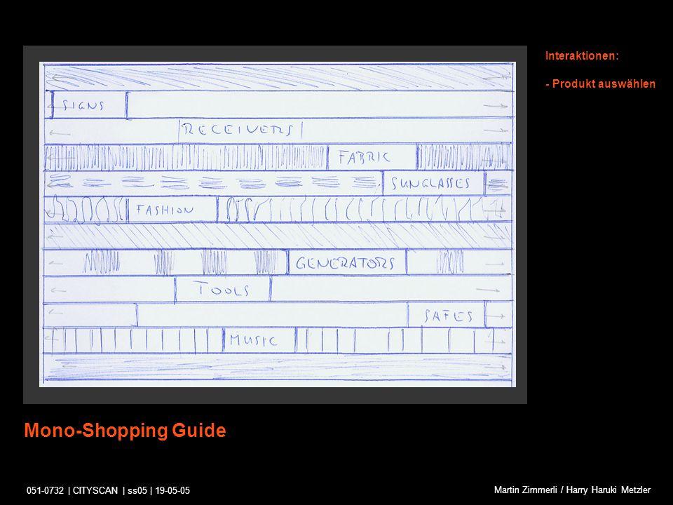 051-0732 | CITYSCAN | ss05 | 19-05-05 Martin Zimmerli / Harry Haruki Metzler Shopping-Tour Interaktionen: Kurzes Anzeigen von passierten Mono-Shopping-Strassen - In Strasse einwählen