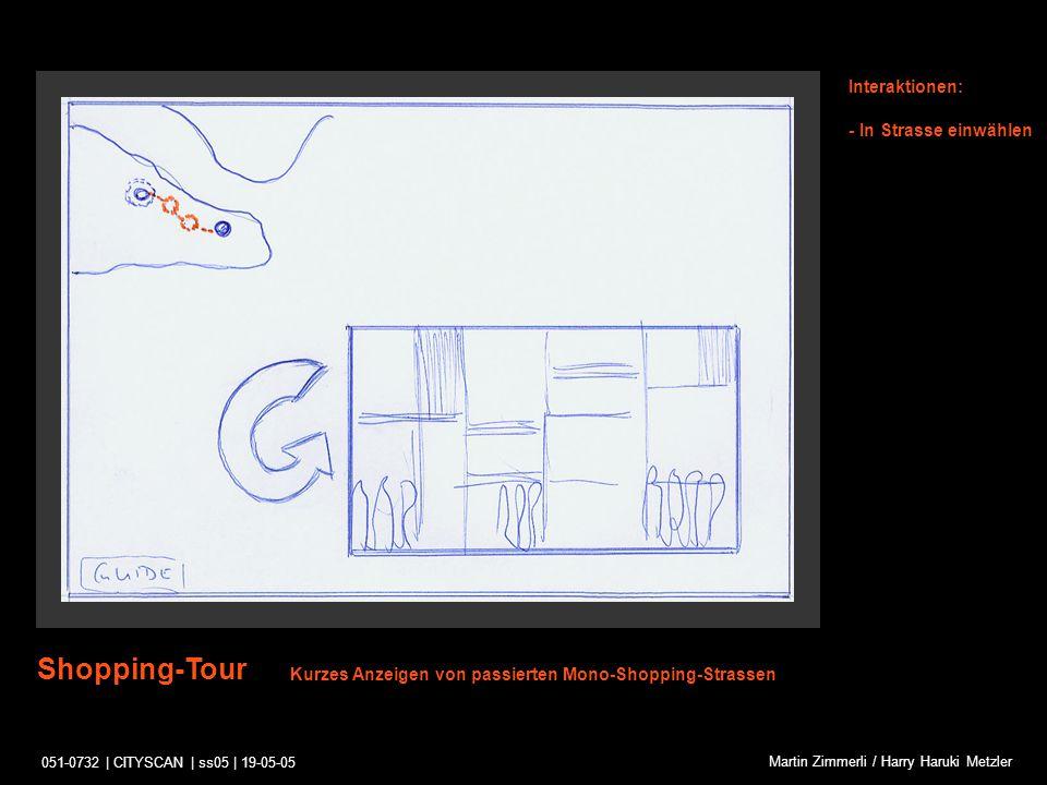 051-0732 | CITYSCAN | ss05 | 19-05-05 Martin Zimmerli / Harry Haruki Metzler Mono-Shopping-Street Interaktionen: -Zoom-In -Strasse in Karte auswählen -Guide konsultieren Strassenscan wird abgespielt