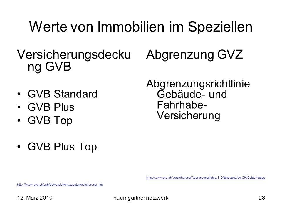 12. März 2010baumgartner netzwerk23 Werte von Immobilien im Speziellen Versicherungsdecku ng GVB GVB Standard GVB Plus GVB Top GVB Plus Top http://www