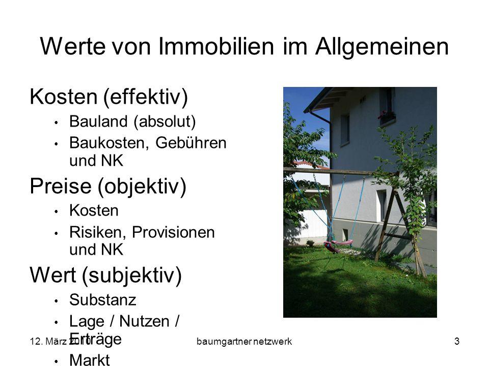 12. März 2010baumgartner netzwerk3 Werte von Immobilien im Allgemeinen Kosten (effektiv) Bauland (absolut) Baukosten, Gebühren und NK Preise (objektiv