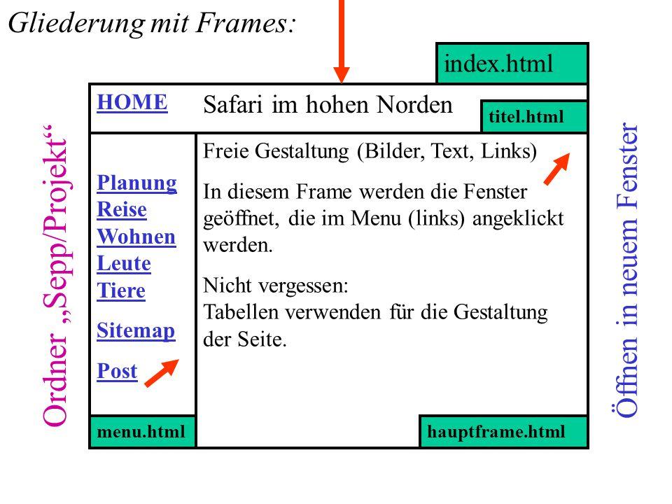 index.html Ordner Sepp/Projekt Öffnen in neuem Fenster Safari im hohen Norden Planung Reise Wohnen Leute Tiere Sitemap Post menu.html titel.html hauptframe.html Freie Gestaltung (Bilder, Text, Links) In diesem Frame werden die Fenster geöffnet, die im Menu (links) angeklickt werden.