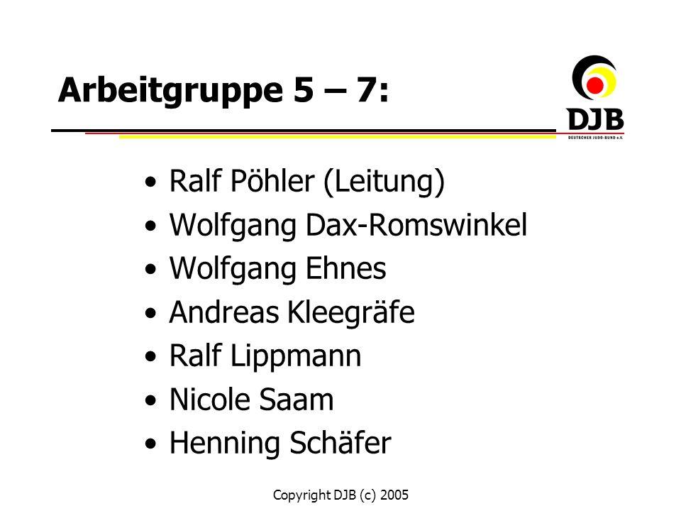 Copyright DJB (c) 2005 Arbeitgruppe 5 – 7: Ralf Pöhler (Leitung) Wolfgang Dax-Romswinkel Wolfgang Ehnes Andreas Kleegräfe Ralf Lippmann Nicole Saam He