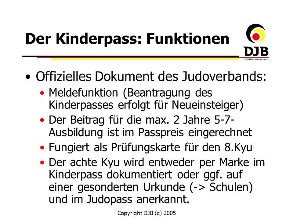 Copyright DJB (c) 2005 Überlegungen zur Gestaltung Format: DinA6 (Analog zum bestehenden Judopaß) Farbliche Gestaltung: bunt (für Kinder ansprechend) Material: relativ fester Einband starkes Papier Inhaltliche Aspekte: Titelblatt 1.