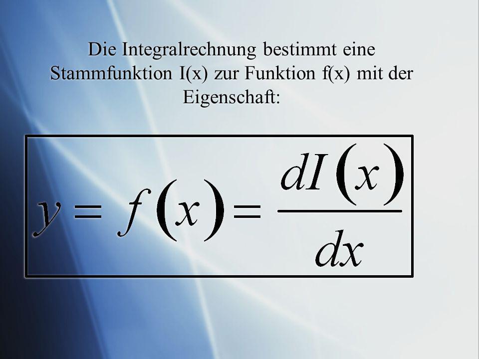 Die Integralrechnung bestimmt eine Stammfunktion I(x) zur Funktion f(x) mit der Eigenschaft:
