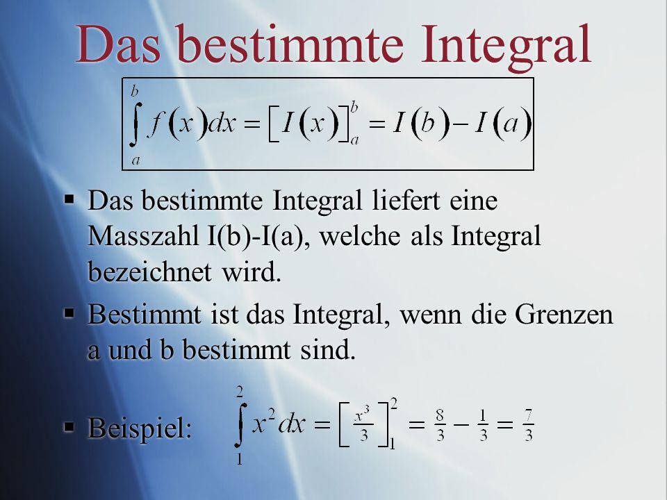 Das bestimmte Integral Das bestimmte Integral liefert eine Masszahl I(b)-I(a), welche als Integral bezeichnet wird.