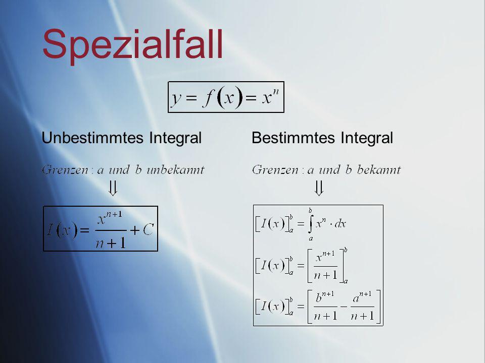 Spezialfall Bestimmtes IntegralUnbestimmtes Integral