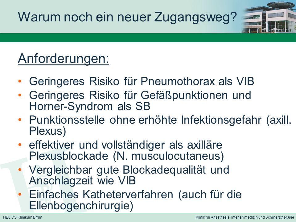 HELIOS Klinikum ErfurtKlinik für Anästhesie, Intensivmedizin und Schmerztherapie Warum noch ein neuer Zugangsweg.