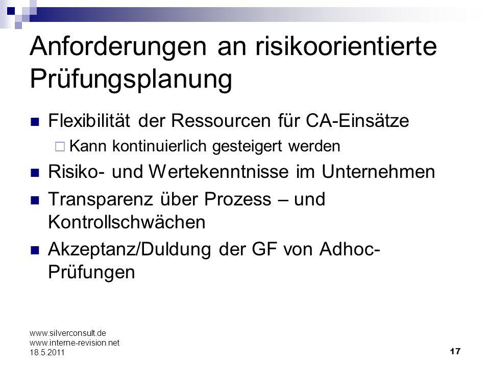 17 www.silverconsult.de www.interne-revision.net 18.5.2011 Anforderungen an risikoorientierte Prüfungsplanung Flexibilität der Ressourcen für CA-Einsä