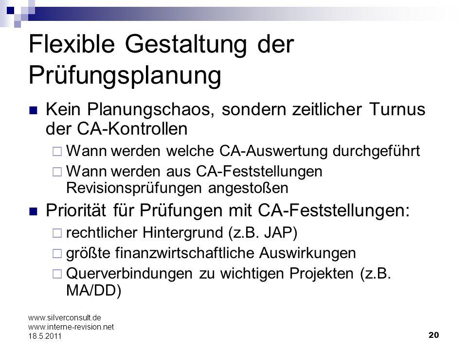 20 www.silverconsult.de www.interne-revision.net 18.5.2011 Flexible Gestaltung der Prüfungsplanung Kein Planungschaos, sondern zeitlicher Turnus der C