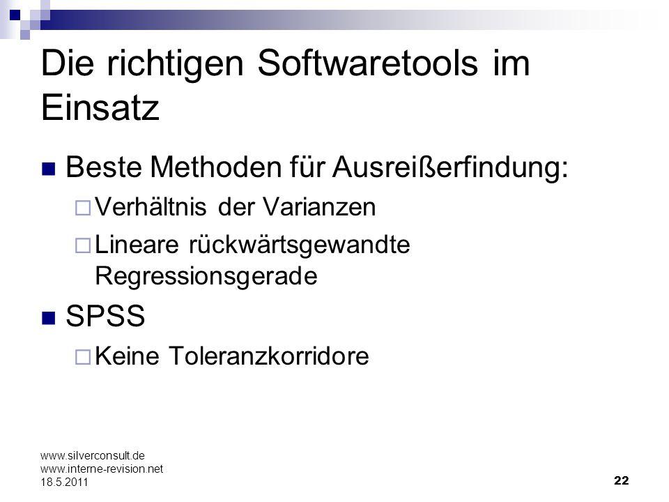 22 www.silverconsult.de www.interne-revision.net 18.5.2011 Die richtigen Softwaretools im Einsatz Beste Methoden für Ausreißerfindung: Verhältnis der