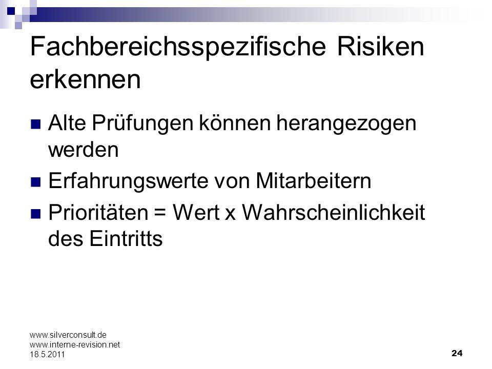 24 www.silverconsult.de www.interne-revision.net 18.5.2011 Fachbereichsspezifische Risiken erkennen Alte Prüfungen können herangezogen werden Erfahrun