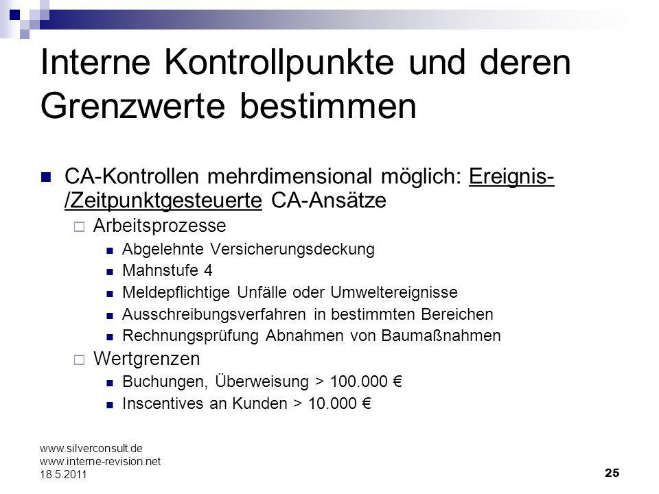 25 www.silverconsult.de www.interne-revision.net 18.5.2011 Interne Kontrollpunkte und deren Grenzwerte bestimmen CA-Kontrollen mehrdimensional möglich