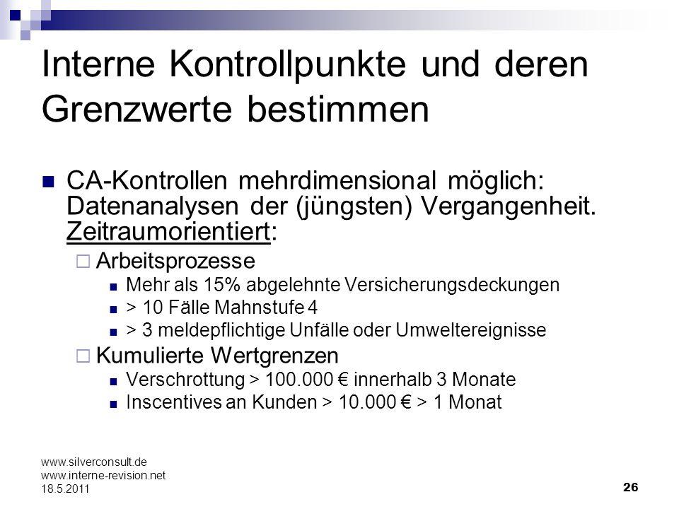 26 www.silverconsult.de www.interne-revision.net 18.5.2011 Interne Kontrollpunkte und deren Grenzwerte bestimmen CA-Kontrollen mehrdimensional möglich