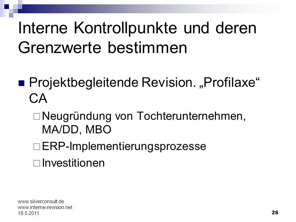 28 www.silverconsult.de www.interne-revision.net 18.5.2011 Interne Kontrollpunkte und deren Grenzwerte bestimmen Projektbegleitende Revision. Profilax