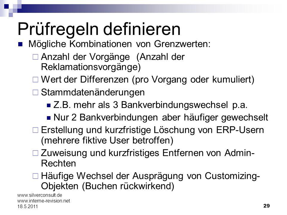 29 www.silverconsult.de www.interne-revision.net 18.5.2011 Prüfregeln definieren Mögliche Kombinationen von Grenzwerten: Anzahl der Vorgänge (Anzahl d
