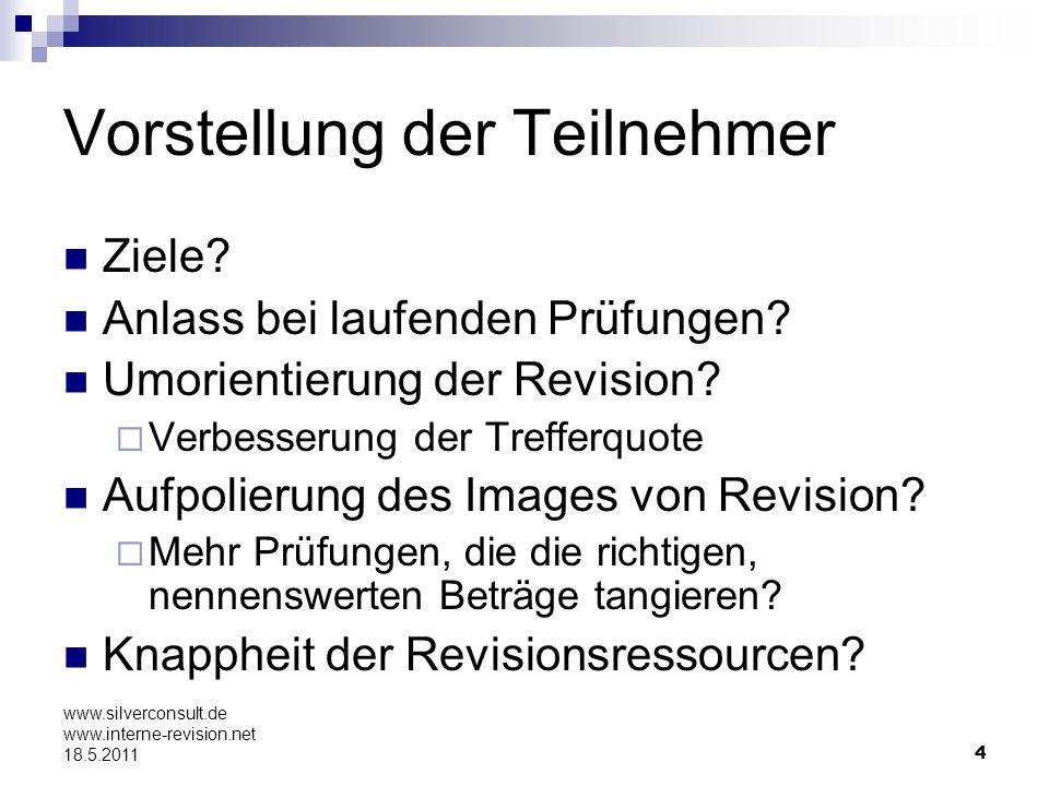 4 www.silverconsult.de www.interne-revision.net 18.5.2011 Vorstellung der Teilnehmer Ziele? Anlass bei laufenden Prüfungen? Umorientierung der Revisio