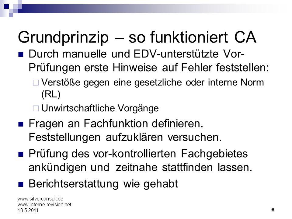 6 www.silverconsult.de www.interne-revision.net 18.5.2011 Grundprinzip – so funktioniert CA Durch manuelle und EDV-unterstützte Vor- Prüfungen erste H