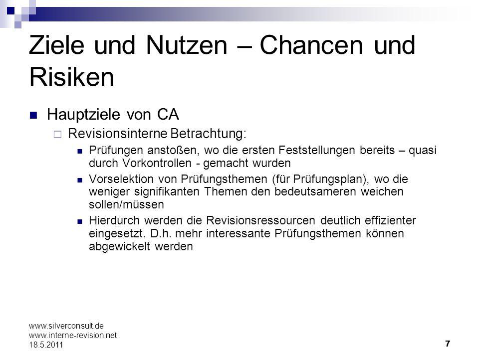 18 www.silverconsult.de www.interne-revision.net 18.5.2011 IT-Unterstützung: Welche Dokus/Daten werden benötigt Daten, die eine Risiko- und Werteposition für das Unternehmen möglichst klar erkennen lassen: Versicherungsabteilung: Schäden vs.