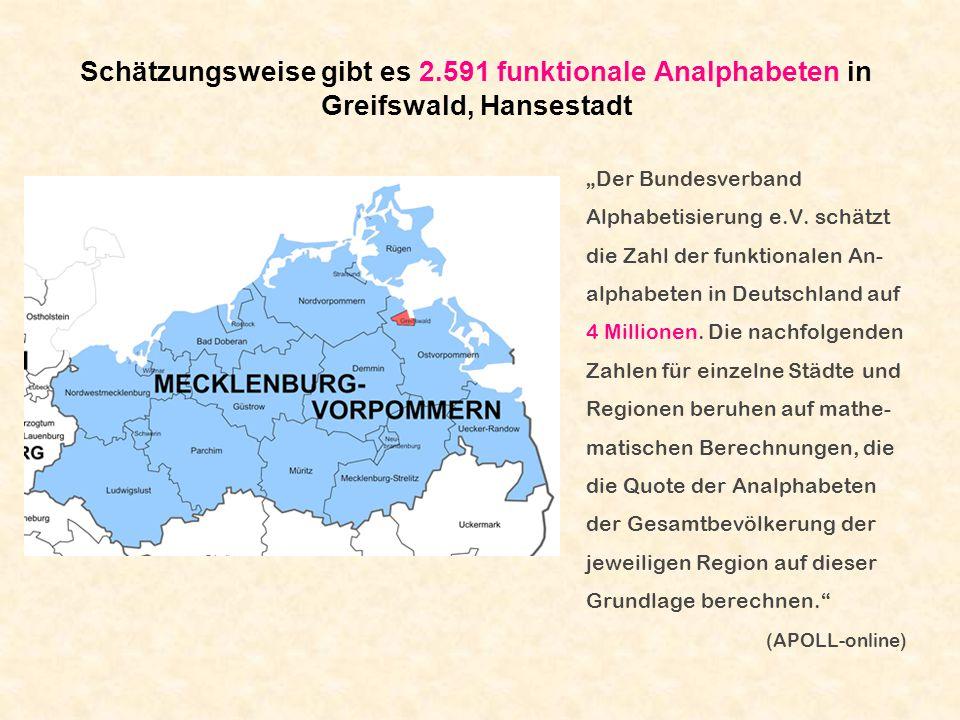 Schätzungsweise gibt es 2.591 funktionale Analphabeten in Greifswald, Hansestadt Der Bundesverband Alphabetisierung e.V. schätzt die Zahl der funktion