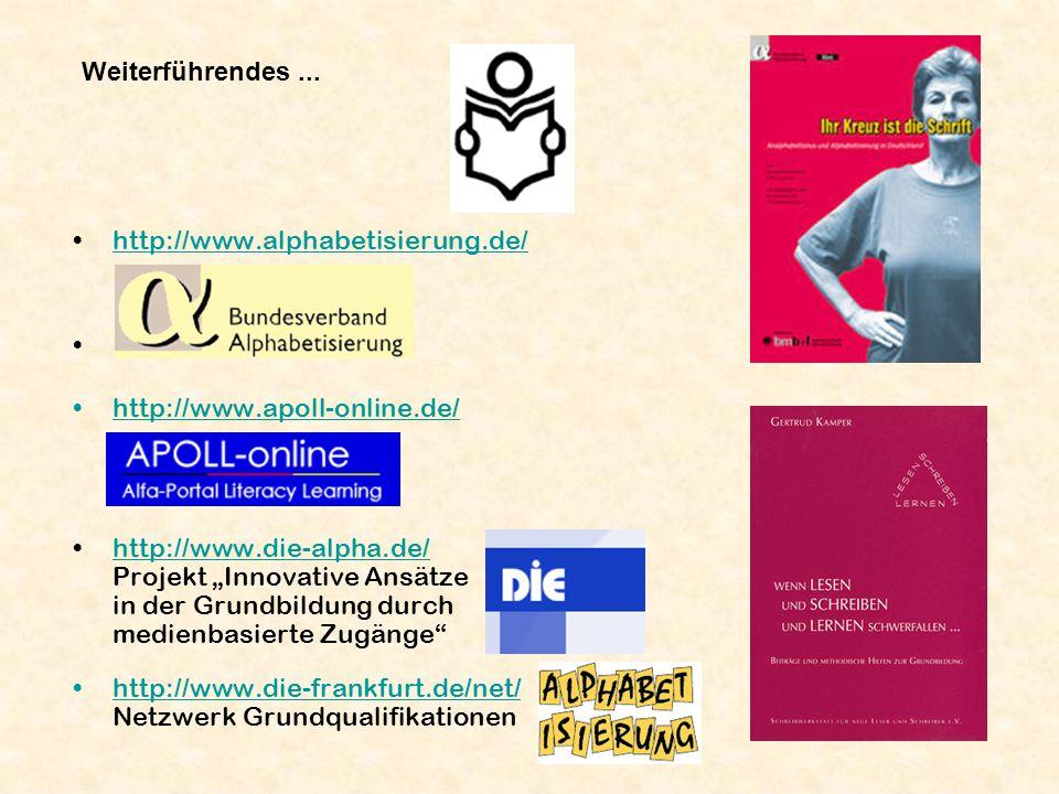 Weiterführendes... http://www.alphabetisierung.de/ http://www.apoll-online.de/ http://www.die-alpha.de/ Projekt Innovative Ansätze in der Grundbildung