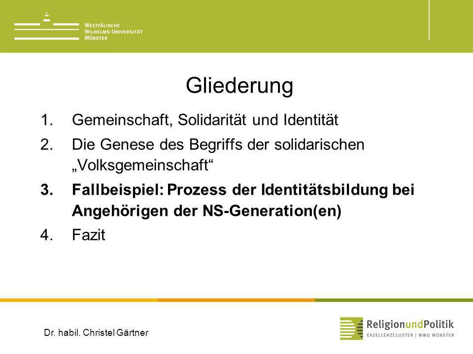 Gliederung 1.Gemeinschaft, Solidarität und Identität 2.Die Genese des Begriffs der solidarischen Volksgemeinschaft 3.Fallbeispiel: Prozess der Identit