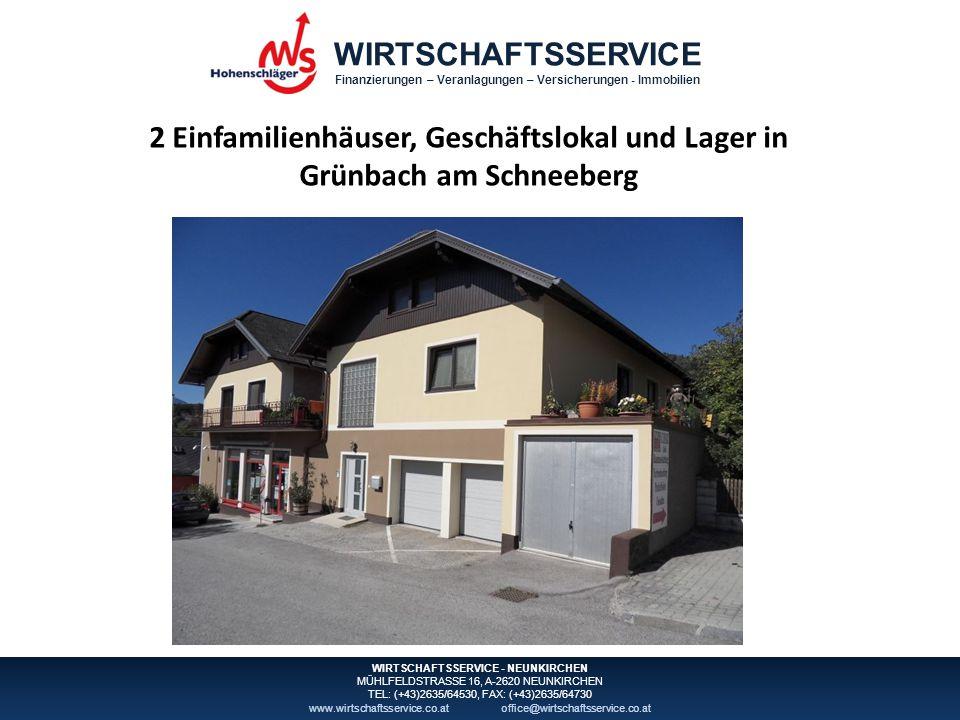 WIRTSCHAFTSSERVICE Finanzierungen – Veranlagungen – Versicherungen - Immobilien WIRTSCHAFTSSERVICE - NEUNKIRCHEN MÜHLFELDSTRASSE 16, A-2620 NEUNKIRCHEN TEL: (+43)2635/64530, FAX: (+43)2635/64730 www.wirtschaftsservice.co.atoffice@wirtschaftsservice.co.at Inhaltsverzeichnis Lageplan 3 Katasterplan mit Orthofoto 4 Grundbuchauszug 8 Widmung und Infrastruktur 9 Flächenwidmungsplan10 Objektbeschreibung11 Fotos12 Vertragskonditionen18