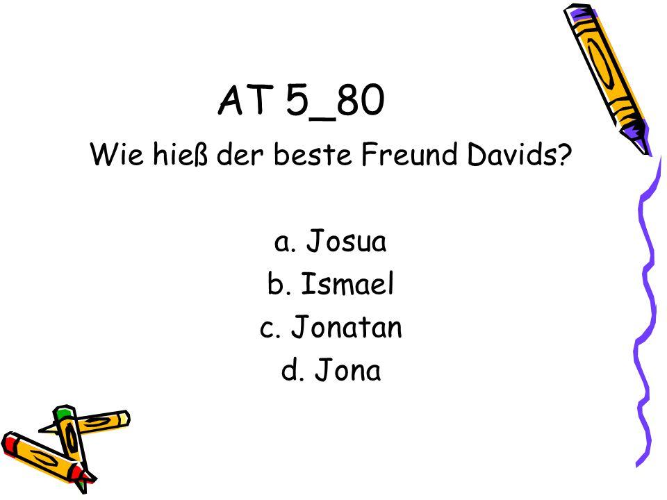 AT 5_80 Wie hieß der beste Freund Davids? a. Josua b. Ismael c. Jonatan d. Jona