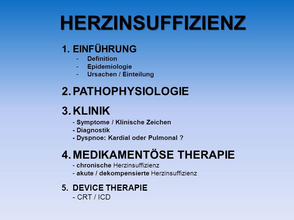 HERZINSUFFIZIENZ 1.EINFÜHRUNG -Definition -Epidemiologie -Ursachen / Einteilung 2.PATHOPHYSIOLOGIE 3.KLINIK - Symptome / Klinische Zeichen - Diagnostik - Dyspnoe: Kardial oder Pulmonal .