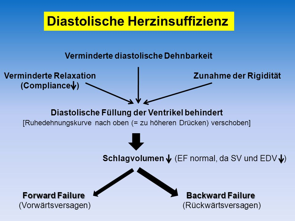 Diastolische Herzinsuffizienz Schlagvolumen (EF normal, da SV und EDV ) Diastolische Füllung der Ventrikel behindert [Ruhedehnungskurve nach oben (= zu höheren Drücken) verschoben] Verminderte Relaxation (Compliance ) Verminderte diastolische Dehnbarkeit Zunahme der Rigidität Forward Failure (Vorwärtsversagen) Backward Failure (Rückwärtsversagen)