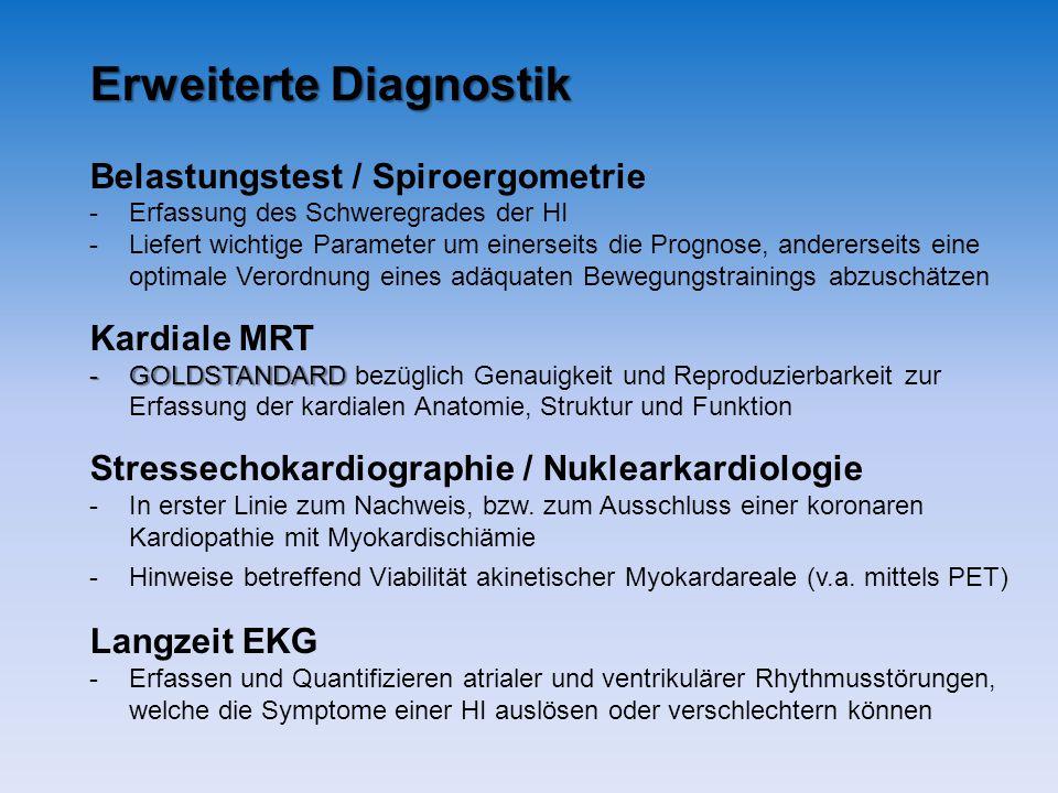Erweiterte Diagnostik Belastungstest / Spiroergometrie -Erfassung des Schweregrades der HI -Liefert wichtige Parameter um einerseits die Prognose, and