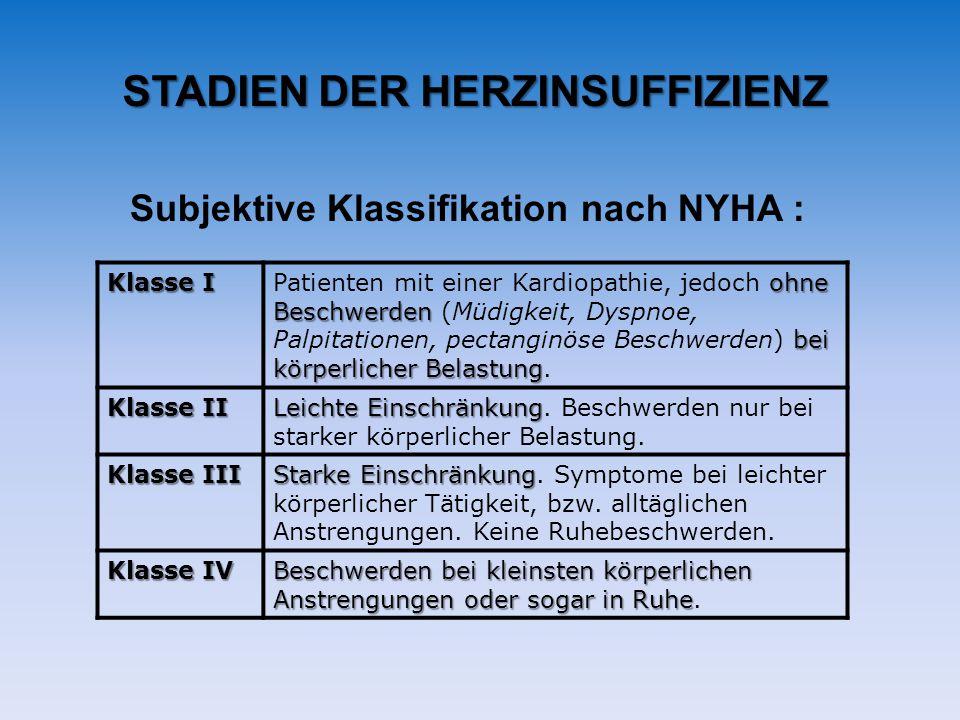 STADIEN DER HERZINSUFFIZIENZ Subjektive Klassifikation nach NYHA : Klasse I ohne Beschwerden bei körperlicher Belastung Patienten mit einer Kardiopath