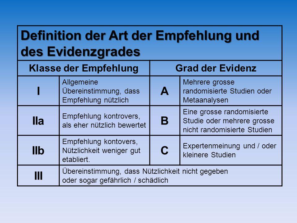 Definition der Art der Empfehlung und des Evidenzgrades Klasse der EmpfehlungGrad der Evidenz I Allgemeine Übereinstimmung, dass Empfehlung nützlich A