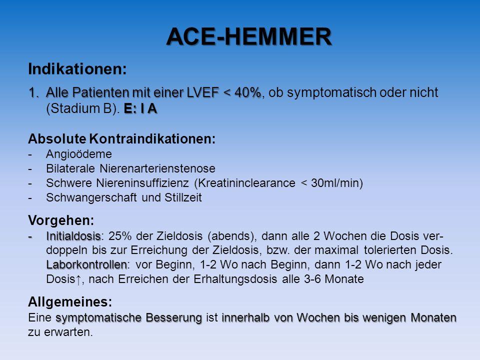 Indikationen: 1.Alle Patienten mit einer LVEF < 40% 1.Alle Patienten mit einer LVEF < 40%, ob symptomatisch oder nicht E: I A (Stadium B).
