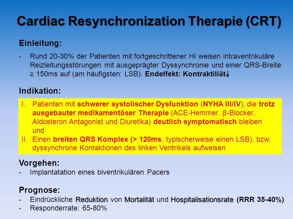 Einleitung: -Rund 20-30% der Patienten mit fortgeschrittener HI weisen intraventrikuläre Reizleitungsstörungen mit ausgeprägter Dyssynchronie und eine